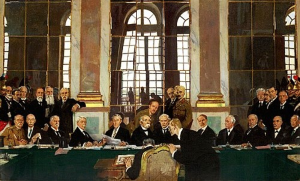 The Signing of Peace in the Hall of Mirrors Versailles   William Orpen 1919 Imperial War Museum Collections Wikimedia Commons